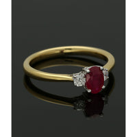 18ct Yellow & White Gold 0.64ct Ruby & 0.13ct Diamond Three Stone Ring