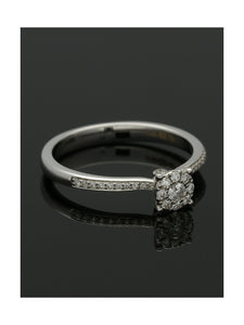 Diamond Cluster Ring 0.18ct Round Brilliant Cut in 18ct White Gold with Diamond Shoulders