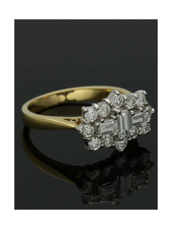 Diamond Cluster Ring 1.35ct Baguette & Round Brilliant Cut in 18ct Yellow & White Gold