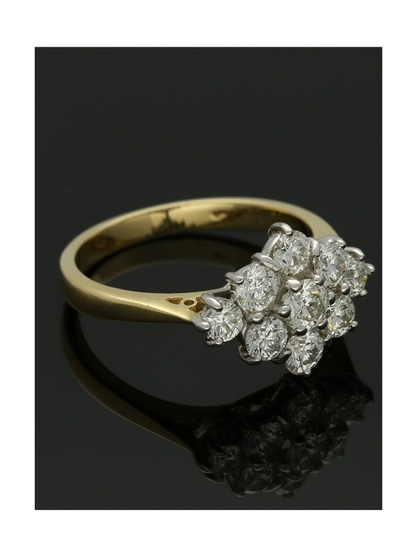 Diamond Cluster Ring 1.24ct Round Brilliant Cut in 18ct Yellow & White Gold