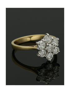 Diamond Cluster Ring 1.06ct Round Brilliant Cut in 18ct Yellow & White Gold