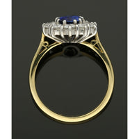 Sapphire & Diamond Cluster Ring in 18ct Yellow & White Gold