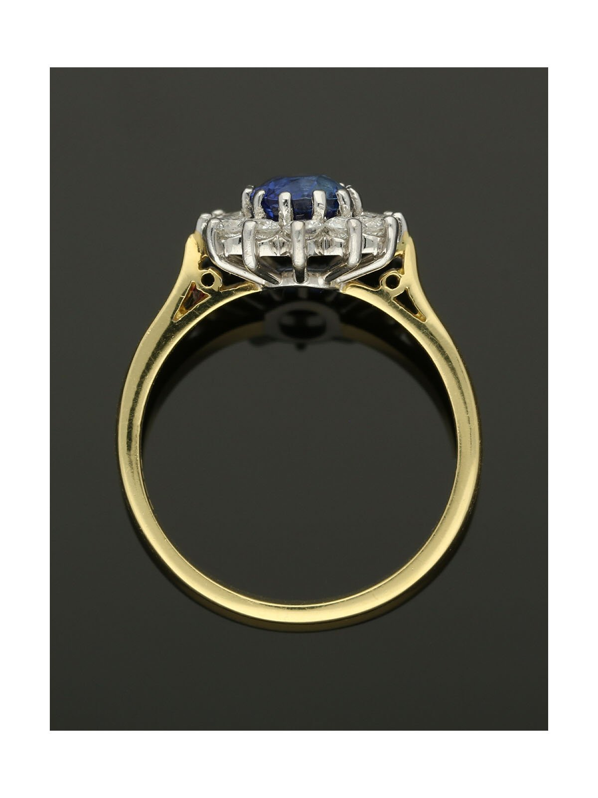 18ct Yellow & White Gold 1.15ct Sapphire & 0.78ct Diamond Cluster Ring