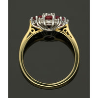 Ruby & Diamond Cluster Ring in 18ct Yellow & White Gold