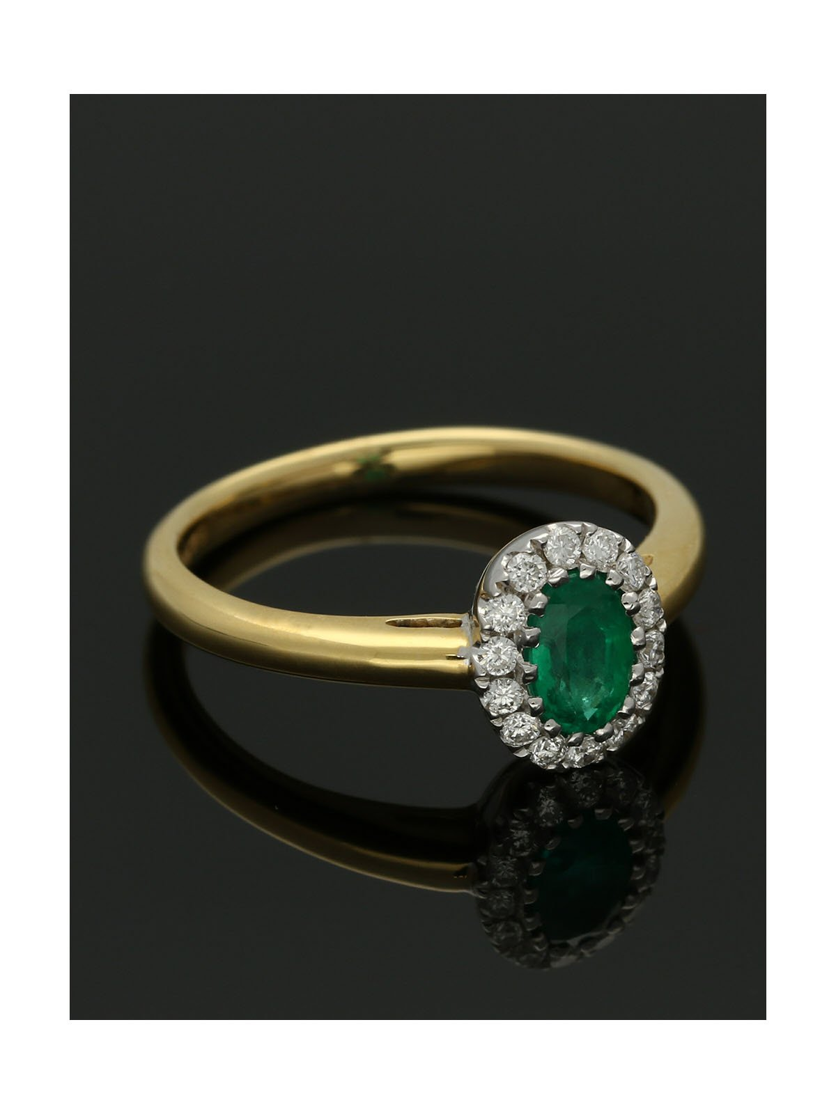 Emerald & Diamond Cluster Ring in 18ct Yellow & White Gold