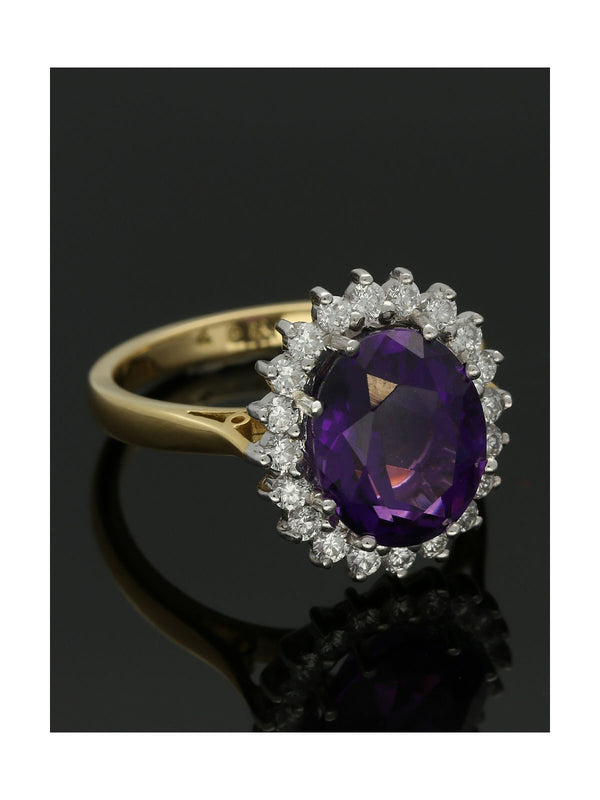 18ct Yellow & White Gold 3.72ct Amethyst & 0.50ct Diamond Cluster Ring