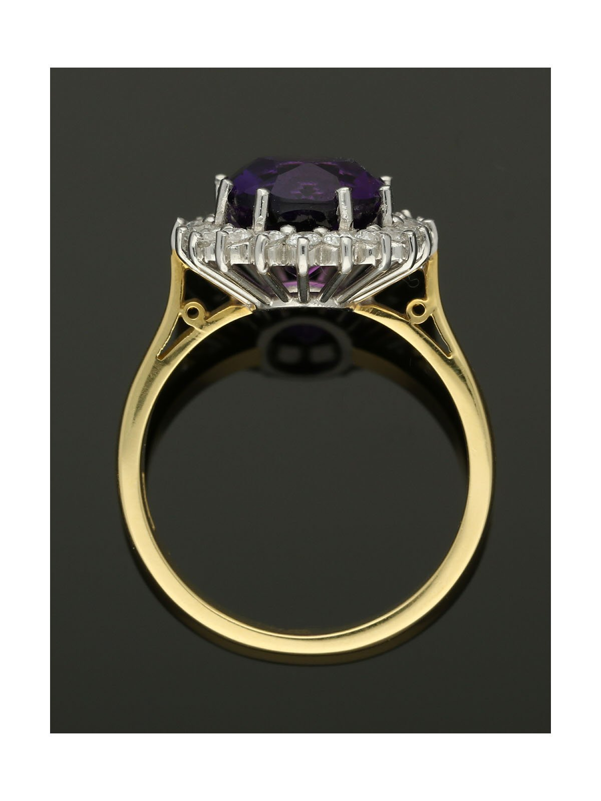 Amethyst & Diamond Cluster Ring in 18ct Yellow & White Gold