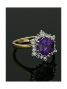 18ct Yellow & White Gold 2.13ct Amethyst & 0.43ct Diamond Cluster Ring