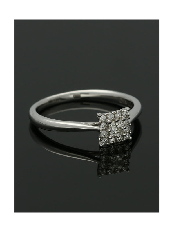Diamond Cluster Ring 0.24ct Princess & Round Brilliant Cut in 9ct White Gold