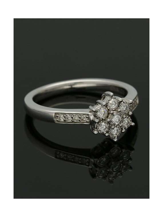 Diamond Cluster Ring 0.25ct Round Brilliant Cut in 9ct White Gold with Diamond Shoulders