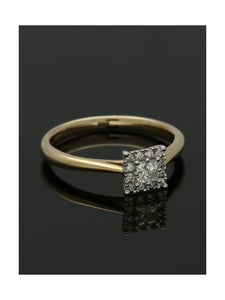 Diamond Cluster Ring 0.24ct Princess & Round Brilliant Cut in 9ct Yellow Gold