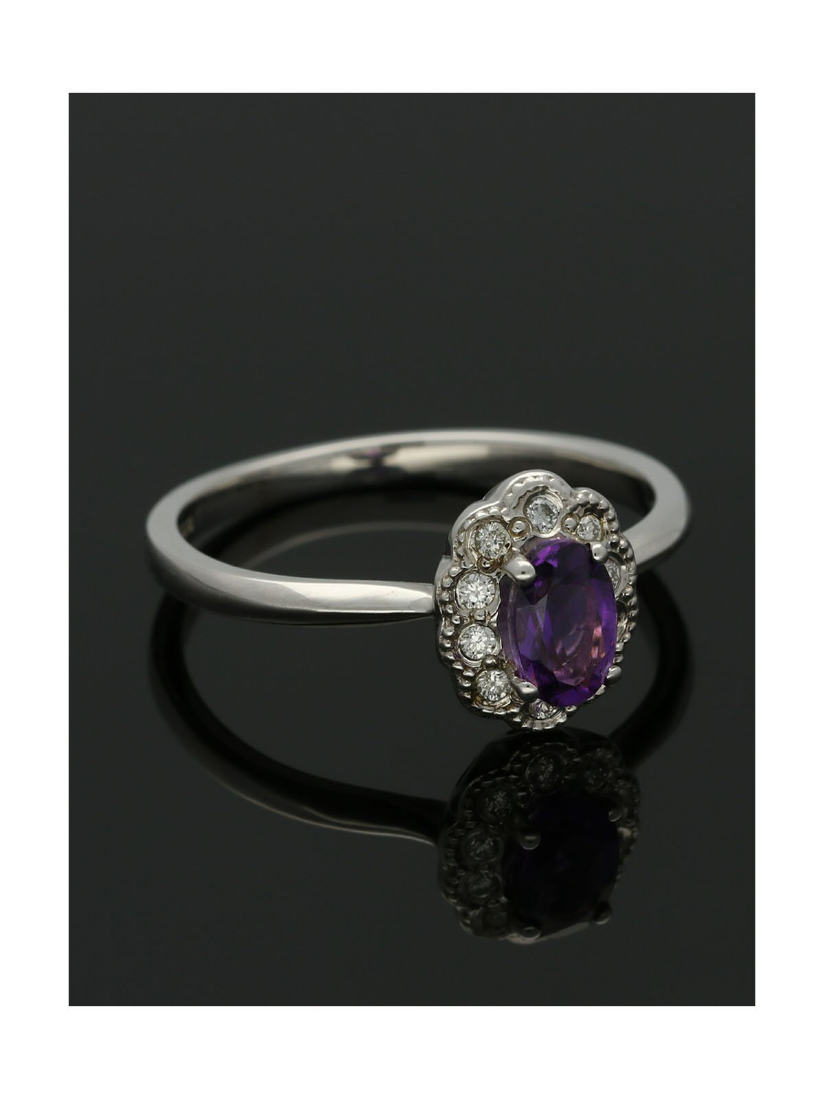 Amethyst & Diamond Oval Cluster Ring in 9ct White Gold