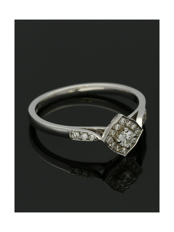 Diamond Cluster Ring 0.24ct Round Brilliant Cut in 9ct White Gold with Diamond Shoulders
