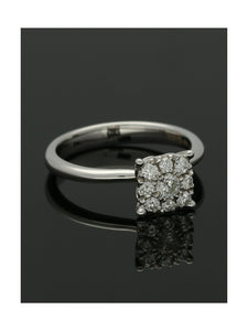Diamond Cluster Ring 0.36ct Round Brilliant Cut in 18ct White Gold