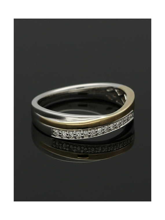 Diamond Half Eternity Ring 0.09ct Round Brilliant Cut in 9ct Yellow & White Gold