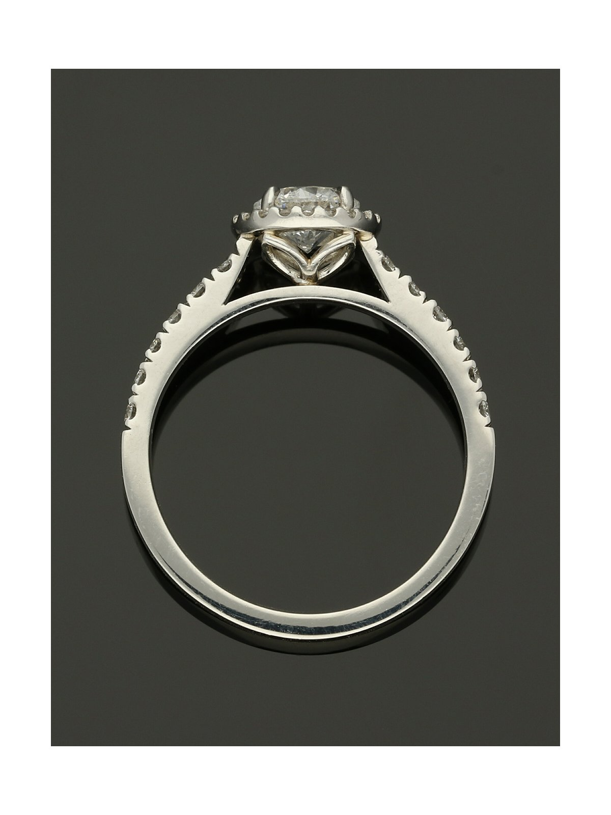 Diamond Halo Engagement Ring 0.70ct Certificated Round Brilliant Cut in Platinum with Diamond Shoulders