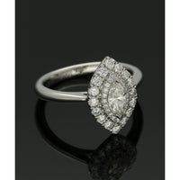 Diamond Cluster Ring 0.72ct Marquise & Round Brilliant Cut in Platinum
