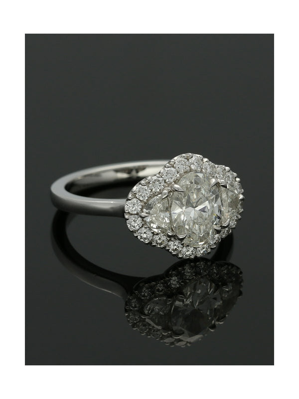 Diamond Cluster Ring 1.76ct Oval & Half Moon Cut in Platinum
