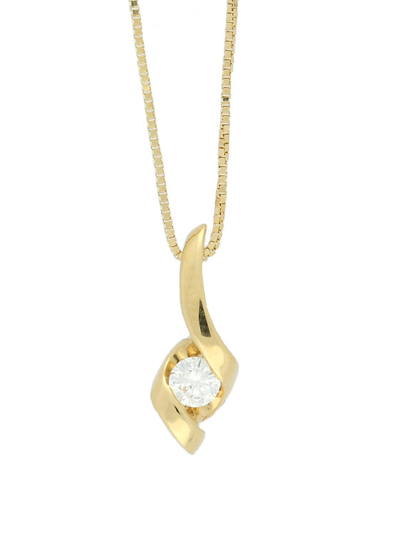 Diamond Twist Necklace in 18ct Yellow Gold