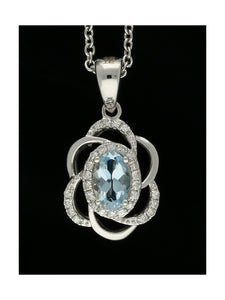 Aquamarine & Diamond Floral Swirl Necklace in 18ct White Gold