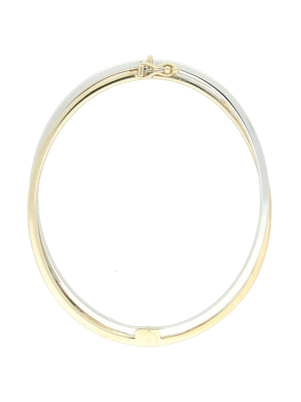 Crossover Polished Bangle in 9ct White & Yellow Gold