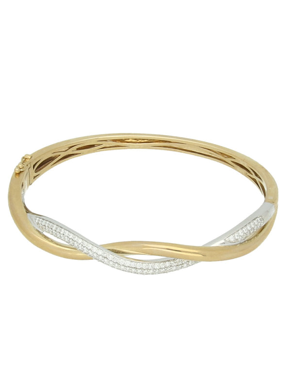 9ct Yellow & White Gold Diamond Set Crossover Bangle