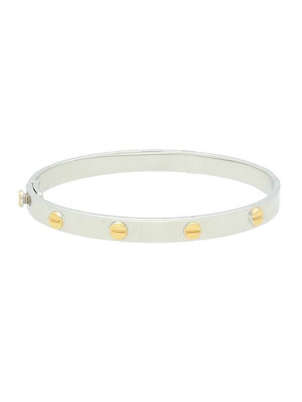 Bangle with Yellow Gold Screws in 9ct White Gold