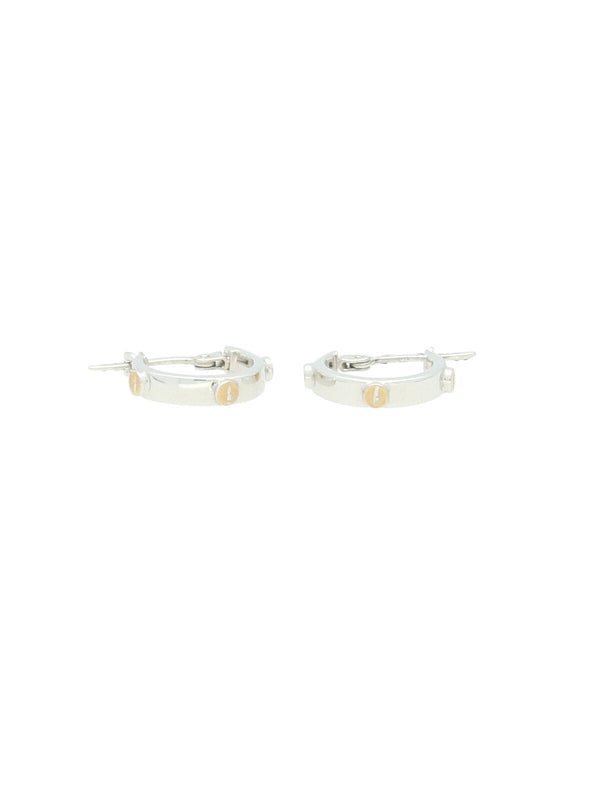 18mm Hoop Earrings with Yellow Gold Screws in 9ct White Gold