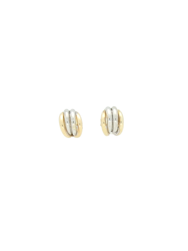 Polished Four Strand Half Hoop Earring in 9ct Yellow & White Gold