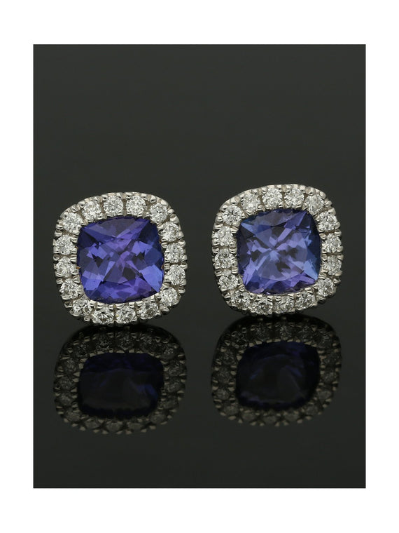 18ct White Gold Tanzanite & Diamond Cluster Stud Earrings