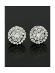 18ct White Gold 0.62ct Diamond Cluster Stud Earrings