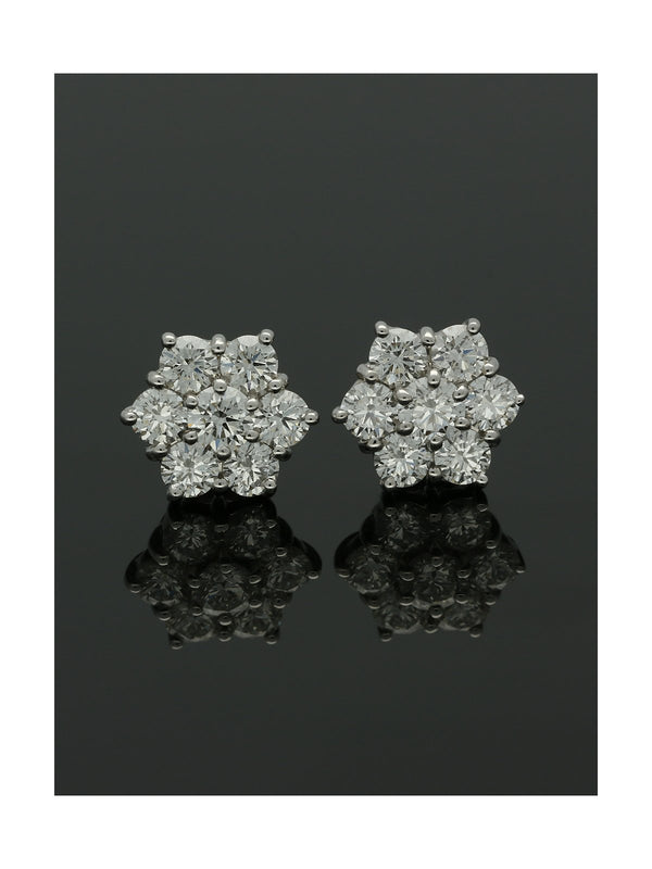 18ct Yellow & White Gold Diamond Set Cluster Stud Earrings