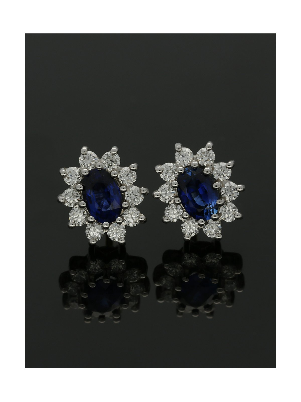18ct Yellow & White Gold Sapphire & Diamond Cluster Stud Earrings