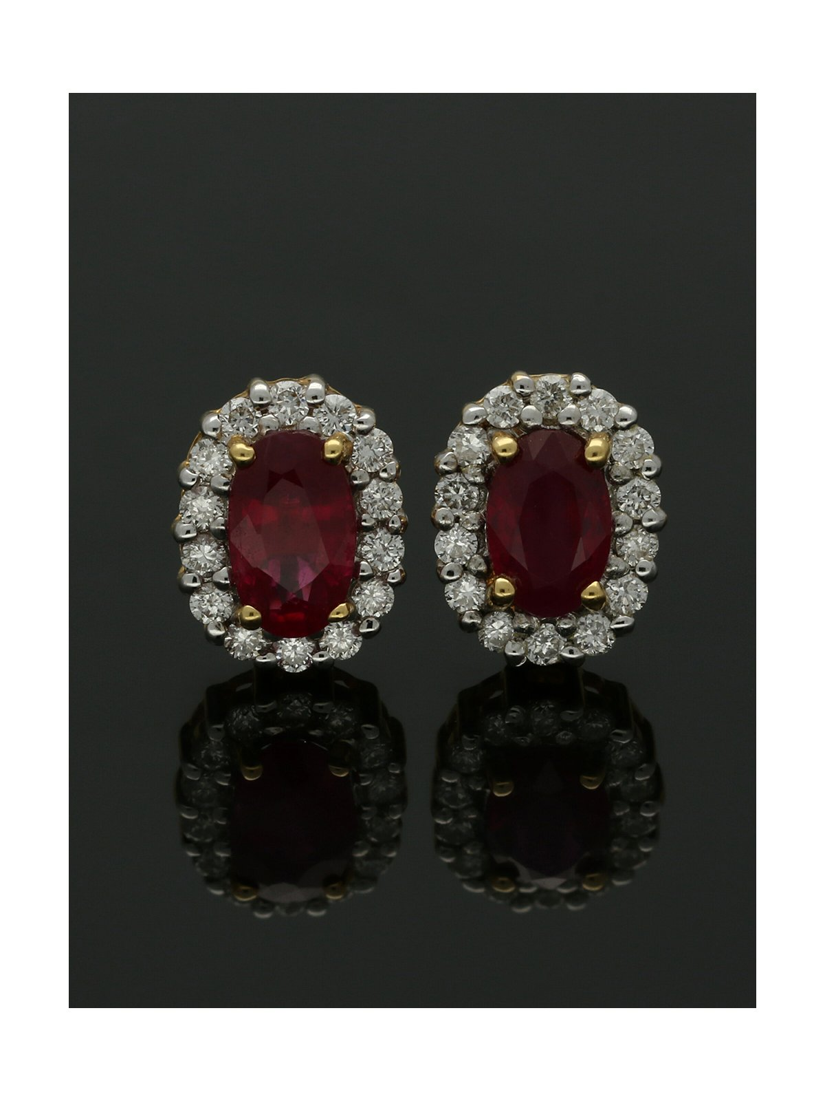 18ct Yellow & White Gold Ruby & Diamond Cluster Stud Earrings