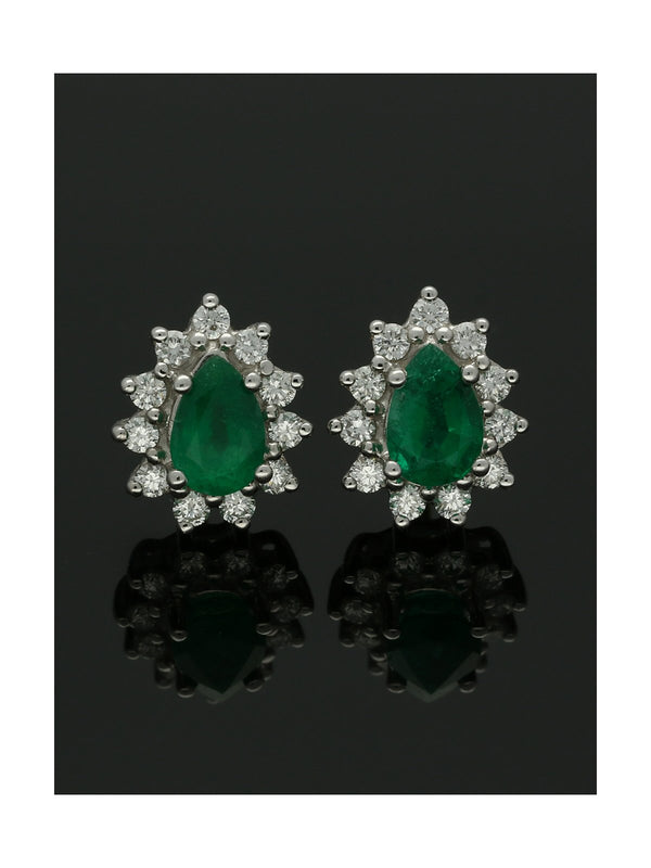 18ct Yellow & White Gold Emerald & Diamond Pear Shape Cluster Earrings