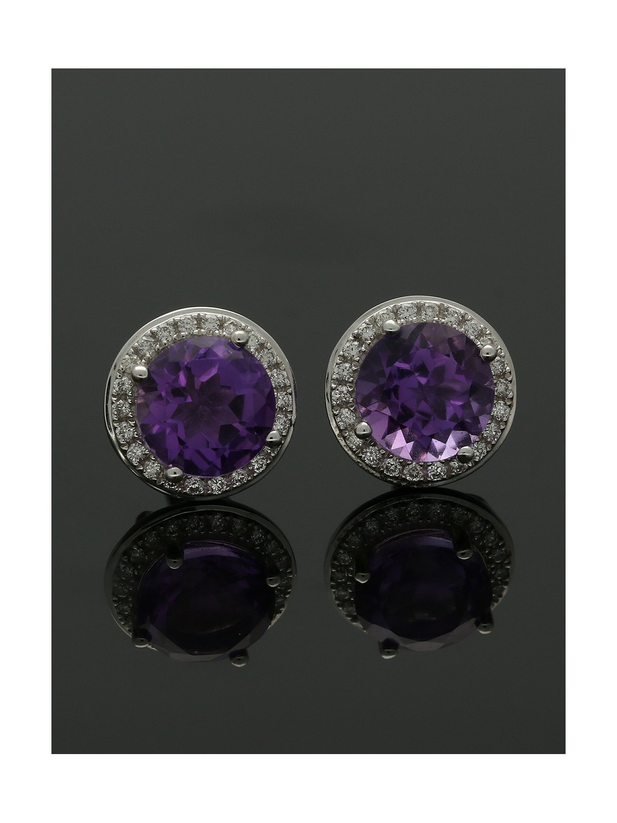 18ct White Gold Amethyst & Diamond Framed Cluster Stud Earrings