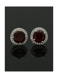 18ct White Gold Garnet & Diamond Framed Cluster Stud Earrings