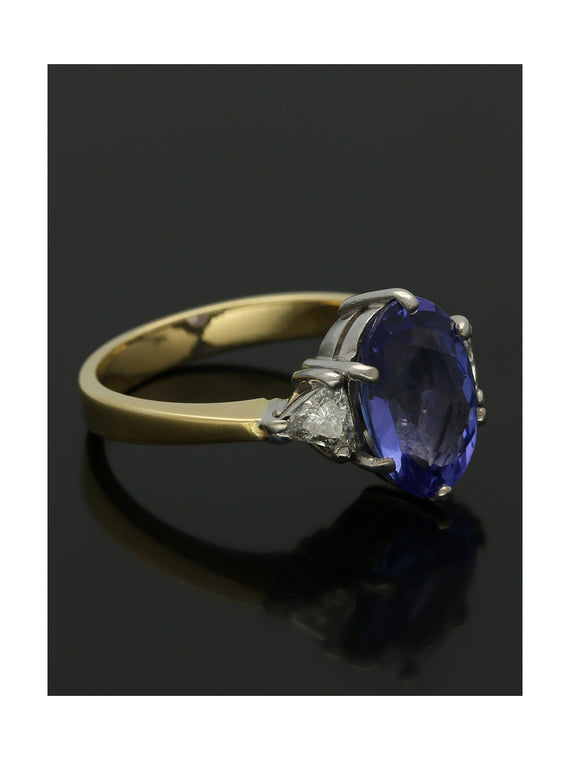 Pre Owned Tanzanite & Diamond Ring in 18ct Yellow & White Gold