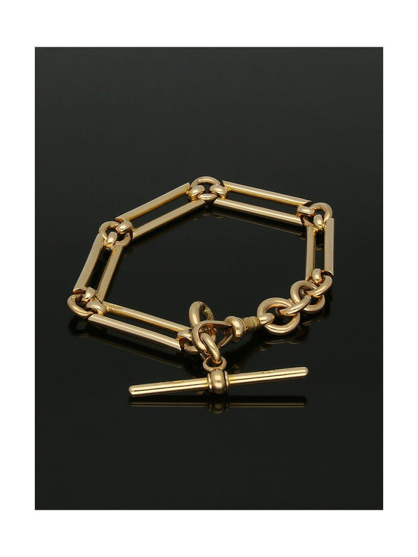 Pre Owned Open Bar Bracelet with T-Bar in 15ct Yellow Gold