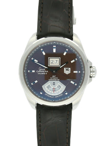 Pre Owned TAG Heuer Steel Grand Carrera Automatic Watch on Black Leather Strap