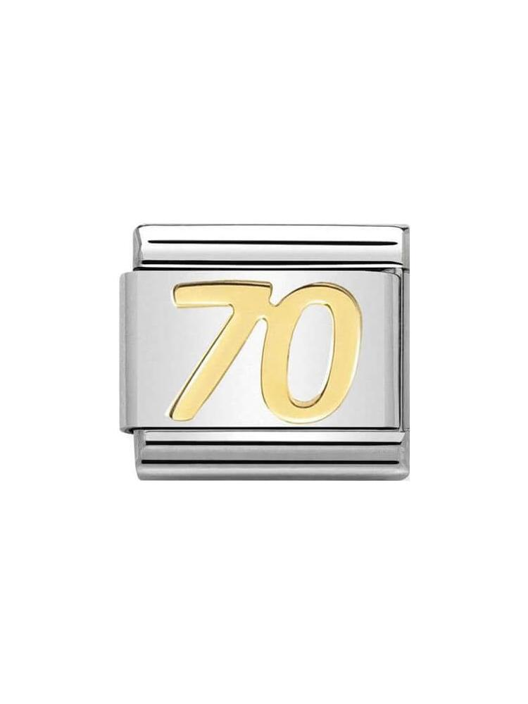 742e92054 Nomination Classic 70th Birthday Steel and Gold Charm 030109-38 | W ...