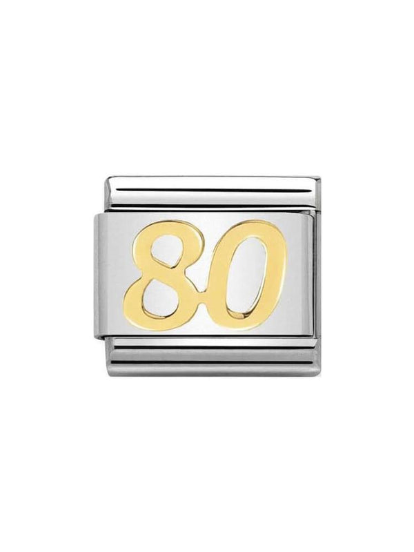 Nomination Classic 80th Birthday Steel and Gold Charm 030109-39