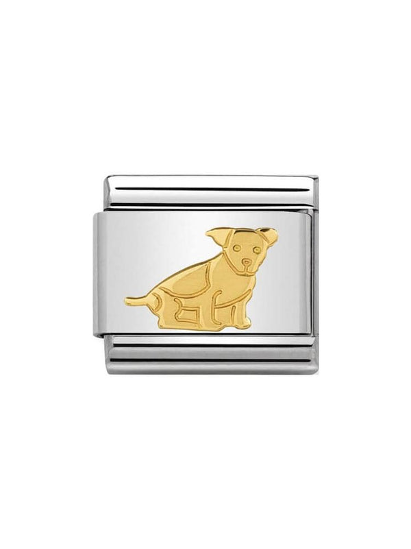 Nomination Classic Seated Dog Steel and Gold Charm 030112-33
