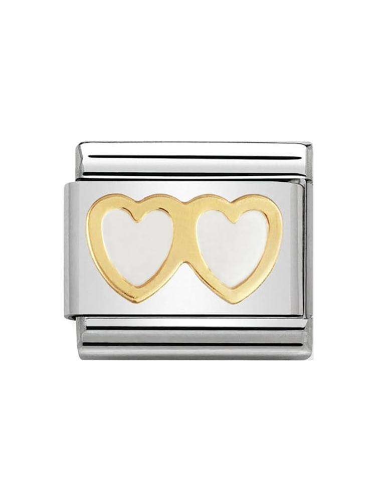 Nomination White Double Heart Charm 030207-08
