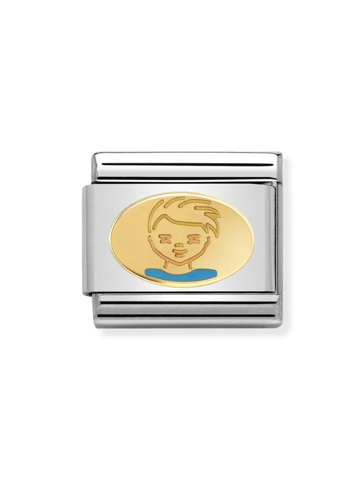 Nomination Classic Little Boy Steel, Gold and Enamel Charm 030242-36