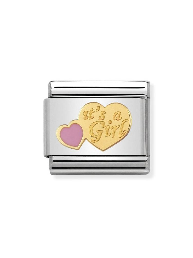 Nomination Classic It's A Girl Steel, Gold and Enamel Charm 030242-39