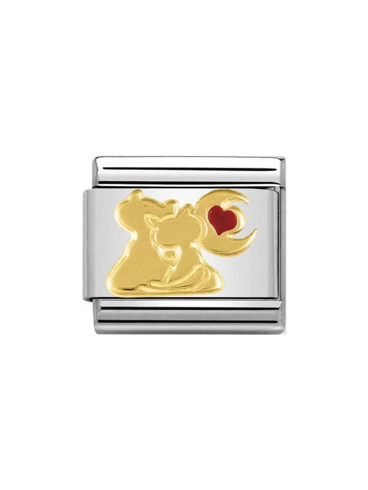 Nomination Classic Cats with Heart and Moon Charm 030248-13