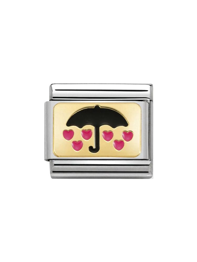 Nomination Classic Umbrella with Hearts Steel, Gold and Enamel Charm 030284-17