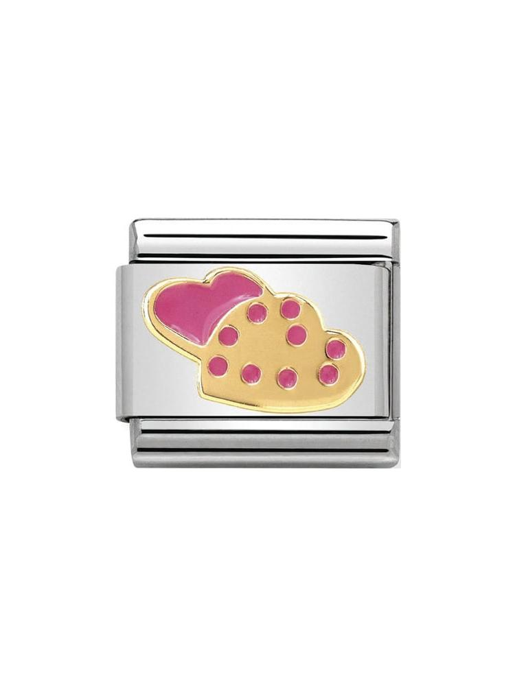 Nomination Classic Heart Cookies Steel, Gold and Enamel Charm 030285-06
