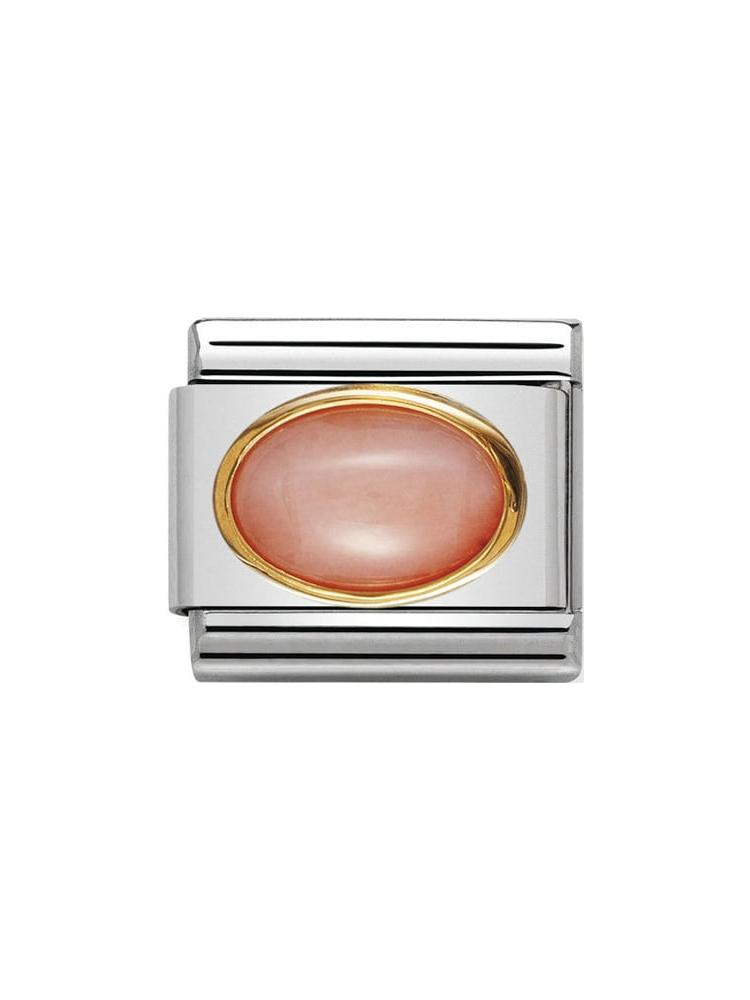 Nomination Classic Pink Coral Oval Steel and Gold Charm 030502-10
